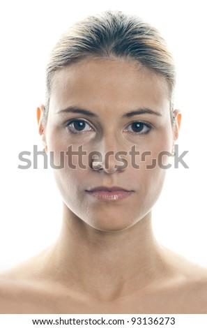 attractive woman natural un retouched face portrait - stock photo