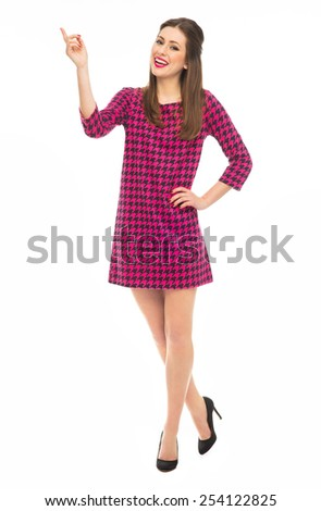 Attractive woman pointing finger - stock photo