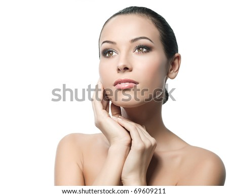attractive woman portrait on white background - stock photo
