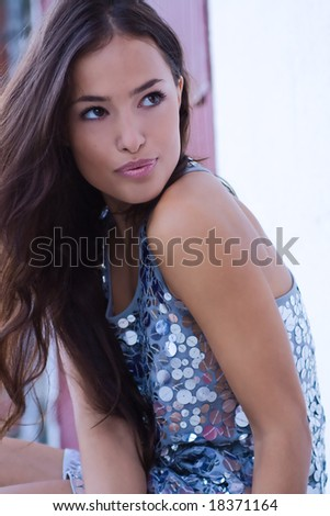 attractive woman portrait, outside shot
