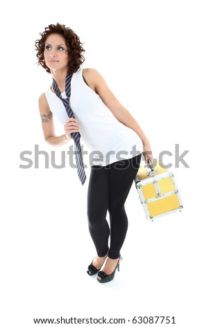 attractive woman posing with golden toolbox over white