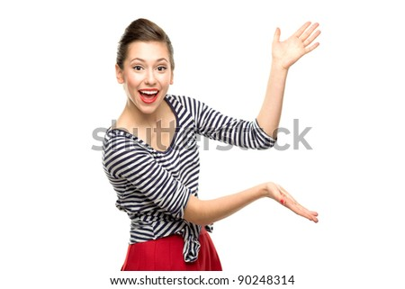 Attractive woman presenting something - stock photo