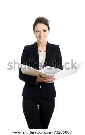 Attractive woman reading documents. Isolated on white. - stock photo