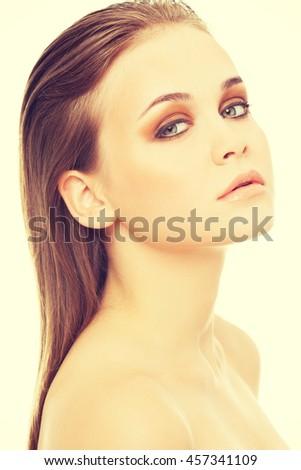 Attractive woman's face. Closeup. - stock photo
