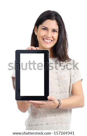 Attractive woman showing a big blank tablet screen isolated on a white background - stock photo