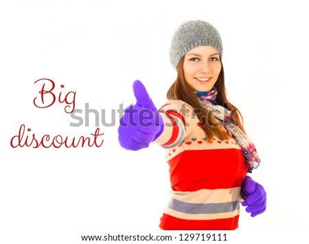 Attractive woman signaling ok - isolated on a white background. Good winter, spring, autumn sales in shop - stock photo