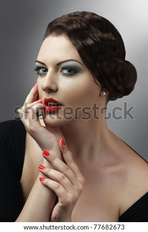 Attractive woman touching lips beauty retro style  portrait - stock photo