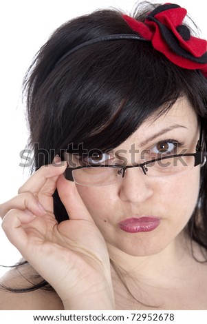 attractive woman tries glasses