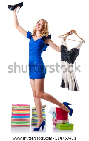 Attractive woman trying new clothing on white