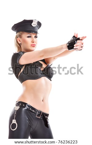 attractive woman wearing a sexy police costume pointing imaginary gun isolated on white background
