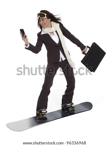 Attractive woman wearing business suit, carrying briefcase and cell phone, riding a snowboard on white background. - stock photo