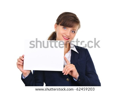 Attractive woman with ad banner - stock photo
