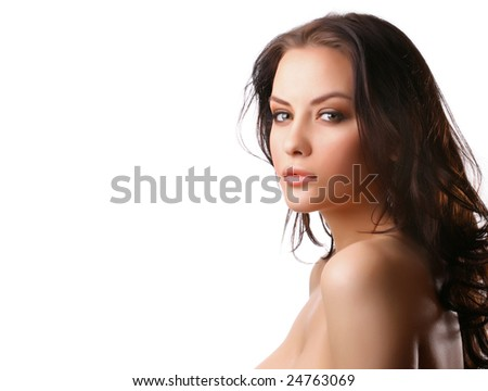attractive woman with beautiful hair on white background - stock photo