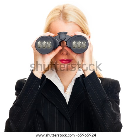 Attractive woman with binoculars looking for money - isolated on white - stock photo