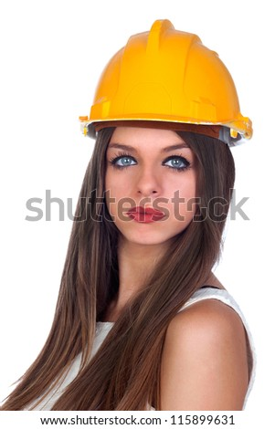 Attractive woman with blue eyes and yellow helmet isolated on white background