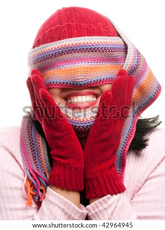 Attractive Woman With Colorful Scarf Over Eyes Isolated on a White Background.