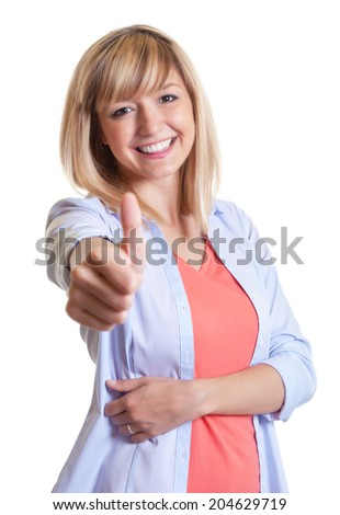 Attractive woman with dark eyes showing thumb - stock photo