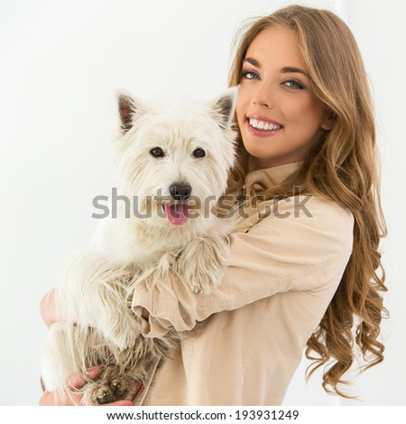 Attractive woman with dog