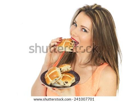 Attractive Woman With Easter Hot Cross Buns - stock photo