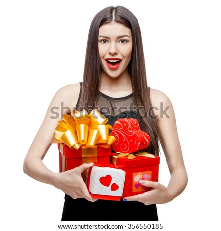 Attractive woman with gift box, isolated on white - stock photo