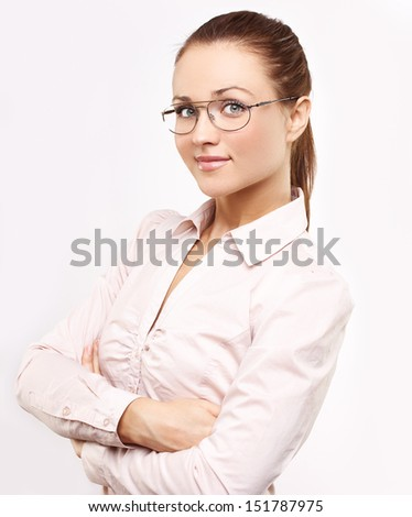 Attractive woman with glasses.Businesswoman stereotype. - stock photo