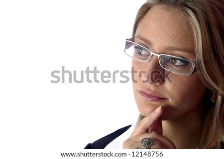 attractive woman with glasses look away - stock photo