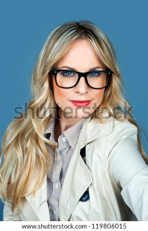 attractive woman with glasses portrait - stock photo