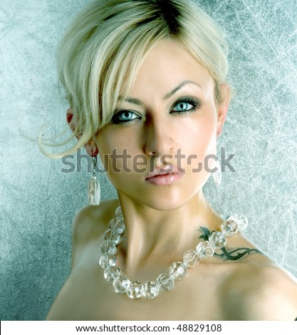 attractive woman with glassy jewellery