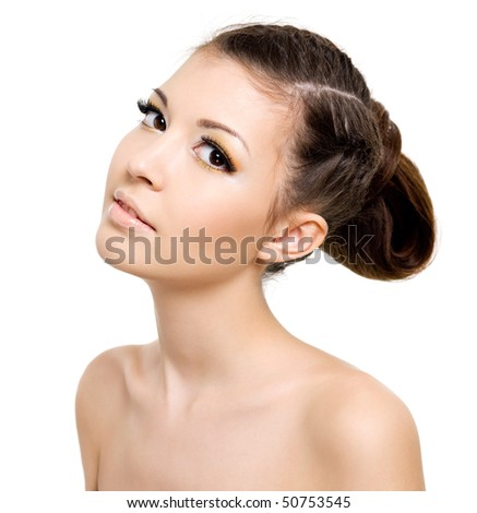 Attractive woman with hairstyle of pigtail. On white background - stock photo