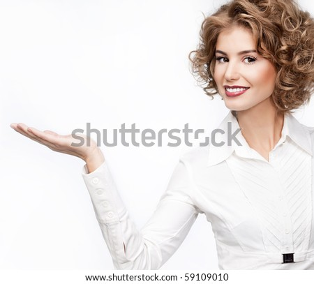 attractive woman with hand on white background - stock photo