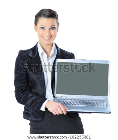 attractive woman with laptop in hands smiling, isolated in white background.