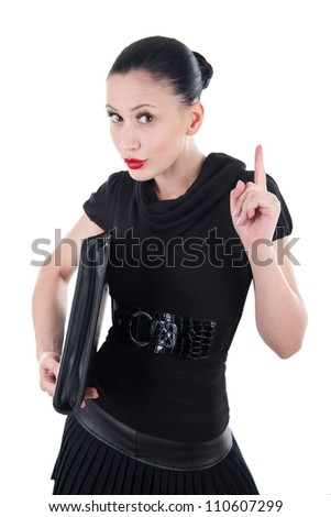 Attractive woman with leather briefcase make a seriously gesture with her finger - stock photo