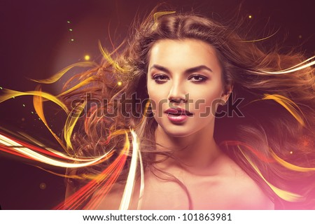 attractive woman with long hair and abstract lines - stock photo