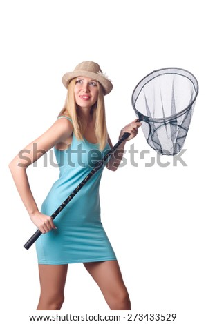 Attractive woman with net on white - stock photo