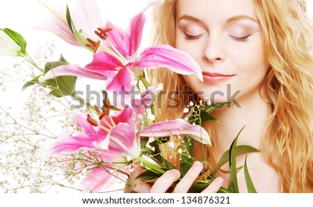 attractive woman with pink flowers