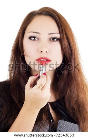 Attractive woman with red lipstick isolated on white - stock photo