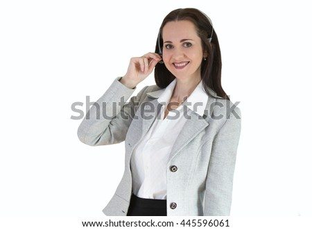 Attractive woman working in a call center. Portrait against of white background - stock photo