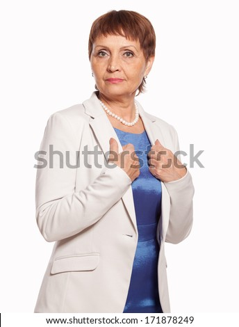 attractive woman 50 years in a white jacket isolated on white background