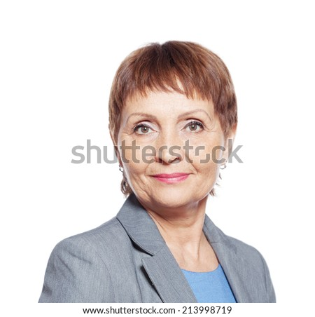 attractive woman 50 years isolated on white - stock photo