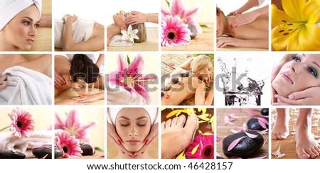 Attractive women getting spa treatment - stock photo