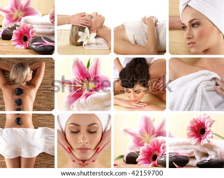 Attractive women getting spa treatment. Collage made of some photos. - stock photo