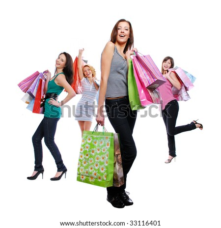 Attractive women group smiling and posing at camera - stock photo