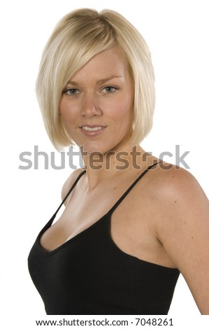 Attractive women looking direct at viewer isolated on white - stock photo