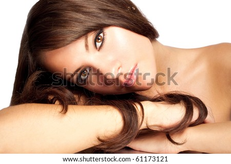 Attractive women on  white  background