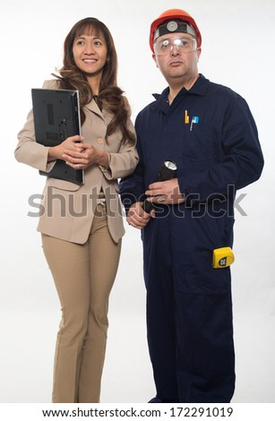 Attractive worker couple construction team - stock photo