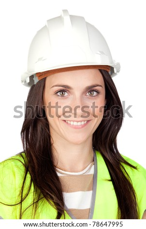 Attractive worker with reflector vest isolated on a over a white background - stock photo