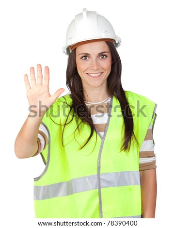 Attractive worker with reflector vest saying Stop isolated on a over a white background