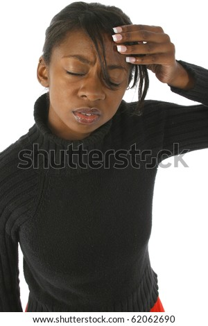 Attractive 20 year old african american woman stressed out over white background. - stock photo