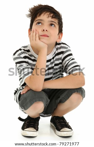 Attractive 8 year old boy making thinking expression over white. - stock photo