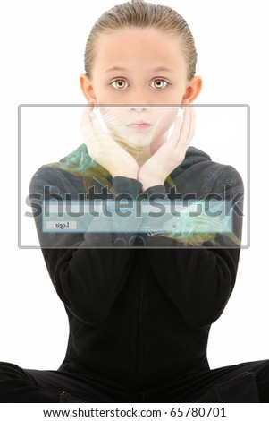 Attractive 7 year old girl child in futuristic education scene over white background. - stock photo